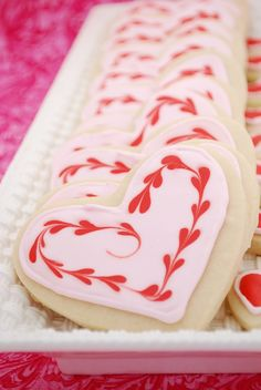 Sugar Cookies with Royal Icing. There is no baking soda in this recipe. I was alarmed when I realized this, but the dinosaur cookies kept their shape! The cookies were soft, too. Valentines Day Cookies, Valentine Heart, Valentine Sayings, Valentine Treats, Heart Cookies, Cute Cookies, Galletas Cookies, Sugar Cookies, Iced Cookies
