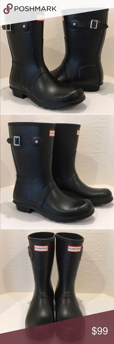 "New Hunter Original Short Rain Boots ☔️🌧 Comfort and quality combine in a watertight boot, finished with a ground-gripping sole. A subtle tonal design circles the top, while an adjustable buckle at the side adds interest.☔️ 1"" heel (size 10 10"" boot shaft; 15"" calf circumference. Approx  Pull-on style. In hot or humid weather, natural latex rubber releases a protective wax film; simply wipe it off with a damp cloth. Rubber upper/textile lining/rubber sole. By Hunter;  Black Matte Brand new…"