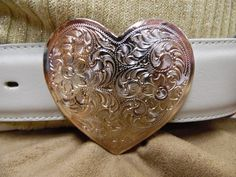 TONY LAMA Leather Pearl White Belt Etched Filigree Heart Western Buckle Size 28 #tonylama