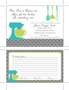 Printable Kitchen Shower Invitations, Bridal Shower Invitations, Housewares Party, Housewarming Party, Kitchen Invitations, Recipe Cards. $18.00, via Etsy.