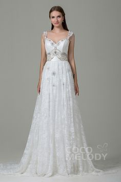 Classic Sheath-Column Straps Natural Train Lace Ivory Wedding Dress with Beading and Bowknot LWZT140B8 #weddingdress #cocomelody