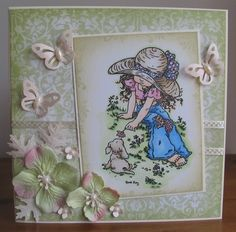 one of my older cards created with Sarah Kay stamp 'Isobelle and Cocoa