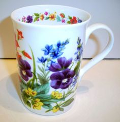 Crown Trent UK England Flowers Floral Fine Bone China Coffee Mug Tea Cup #CrownTrent #TeaCup