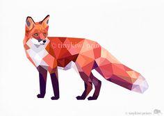 Red Fox 2, Geometric print, Original illustration, Animal print, Minimal art, Nursery wall art on Etsy, $12.00
