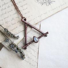 Alchemy fire symbol Witchy jewelry Fire sign necklace by MarrieKo