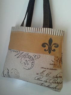Handbag Tote in French Postage with Fluer De Lis. $48.00, via Etsy.