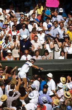 14) Cash's climb, 1987    Pat Cash clambered up to the players' box to celebrate defeating Ivan Lendl in straight sets