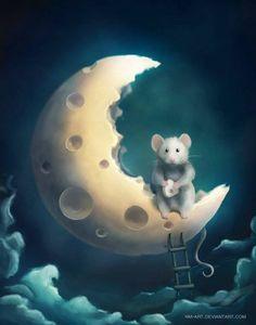 Whimsical Moon- too cute Art And Illustration, Art Fantaisiste, Art Mignon, Marjolein Bastin, Cute Mouse, Moon Magic, Beautiful Moon, Gif Animé, Moon Art