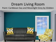 Would love this in my living room. Light grey walls with a deep teal/turquoise feature wall. Pair with a dark grey sofa and golden yellow accents.