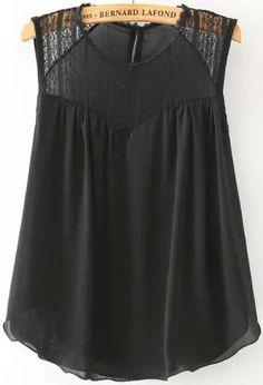 Black Sleeveless Lace Loose Tank Top