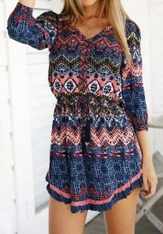 Throw a little graphic punch to your weekend look by donning this ethnic print mini dress. It features 3/4 sleeve and V neckline.