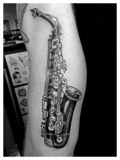 Saxophone tattoo by Spirits in the Flesh tattoo studio San Francisco www.spiritsinthefleshtattoo.com