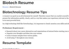 Expert Tips From  Year Biotech Recruiter On Writing A Resume