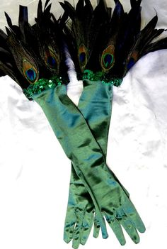 Green Peacock Feather Long Satin Gloves Feather cuff Winter Ball Mardi Gras Sz S/M on Etsy, $34.95