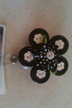 This name badge holder was made from buttons and a bow.  Buttons came from an old button jar a friend gave me years ago.