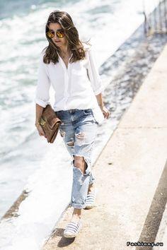 Белая рубашка в весеннем модном образе