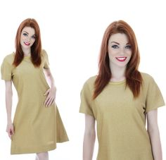 Mod Gold Dress Vintage Cocktail Party 1960s by neonthreadsdesigns, $56.00