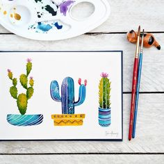 Here's a better look at the final cacti painting from the last post  Have a lovely Friday everyone!!  // Oh oh, stay tuned for a little surprise later today that has been (looong) overdue...!  • • • • • • • • • •