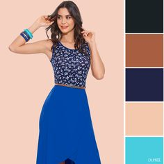 Combinar vestido azul estampado. mujer Dupree Waist Skirt, High Waisted Skirt, Skirts, Fashion, Dress Blues, Color Combinations, Blue Nails, Women, Moda