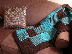 Patchwork Brown and Blue Quilt