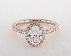 1ct Halo Oval Engagement Ring Rose Gold