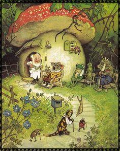 Art And Illustration, Vintage Illustrations, Aesthetic Drawing, Aesthetic Art, Illustrator, Baumgarten, Mushroom Art, Vintage Fairies, Cottage Art
