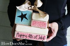 4th of July 2x4 Flag #2x4crafts #flag #4thofjuly #howdoesshe howdoesshe.com
