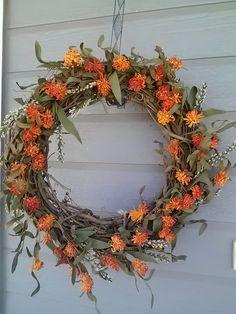 grapevine wreath with orange