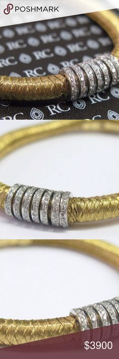 Roberto Coin 18Kt Woven Diamond Bar Bracelet Yello Here is a Fine Roberto Coin 18KT Woven Diamond Bar Bracelet.  Made from Solid 18Kt Yellow Gold and weighs 26.2 grams.  It holds .60Ct of Natural Round Brilliant Diamonds that are G- H Color VS2 Clarity, Full of Shine and Fire.  There is a little damage if you look at picture 3 , in person it does not really show.  Gorgeous piece.  Hallmarked Roberto Coin , 18kt, Italy , 1226 V1.  Bracelet is 7 inches long. Roberto Coin Jewelry Bracelets