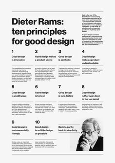 Dieter Rams Ten Principles for good design Typography Layout, Graphic Design Typography, Web Design, Layout Design, Design Basics, Branding, Dieter Rams Design, Design Editorial, Retro Graphic Design