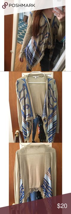 Blue Aztec cardigan High-low Aztec cardigan with fringe Say What? Sweaters Cardigans