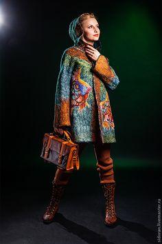 Купить Рыбомания - рисунок, пальто, пальто из шерсти, ввесна, осень, рыбы, ручная авторская работа