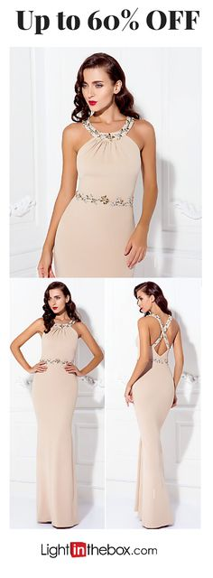 A dress worth wearing on a Red Carpet! Sheath open shoulders beads embroidered back strap long mermaid dress for wedding / Prom/ Homecoming and other formal special occasions. Find it in various of colours at just $109.99 - click to shop.
