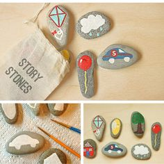 ¿Cuántas historias podrán salir de esta bolsa con piedras pintadas? La imaginación de los niños no tiene límite #piedraspintadas Story Stones, Diy For Kids, Painted Rocks, Ideas Para, Coasters, Stones, Purse, Handmade Toys, Girls Toys