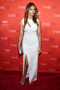 Melania Trump Cutout Dress - Melania Trump opted for an on-trend slashed white gown by Mugler for her Time 100 Gala look.