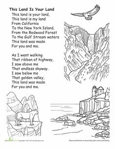 """Hum a patriotic tune with your little ones using this fun singalong sheet, featuring a classic U. song, """"This Land is Your Land"""". Preschool Songs, Kids Songs, Kindergarten Music, Usa Songs, Patriotic Symbols, Theme Nature, Music Classroom, Classroom Crafts, California History"""