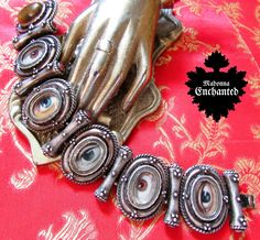 Madonna Enchanted mourning lovers eye bracelet one of a kind jewelry assemblage all seeing evil eye link cuff Victorian goth assemblage by madonnaenchanted on Etsy