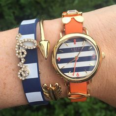 Today's look with my new fave...Keep's newly released limited edition navy and white striped TimeKey #keep #KeepCollective #sdstyle #armparty #nautical #navystripes #summer #stylingourlives #stripes #orange #white #navy www.keep-collective.com/with/kellybryan