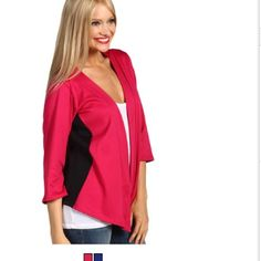 Brand new Make a dash through the door looking chic and stylish with this easy-to-wear jacket. Open front. Contrast side panels. Three-quarter sleeves. Cropped hem. 83% polyester, 14% rayon, 3% spandex. Hand wash cold, dry flat. Made in the U.S.A. of imported materials. Measurements: Length: 24 in Product measurements were taken using size SM. Please note that measurements may vary by size. Christin Michael  Jackets & Coats