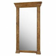 """Weathered wall mirror in antiqued hickory with tiered framework. Designed by Carolyn Kinder.    Product: Floor mirrorConstruction Material: Wood, plywood, and mirrored glassColor: Antique hickoryDimensions: 82"""" H x 45"""" W x 6"""" D"""