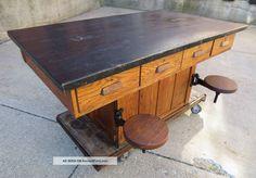 Vintage Oak Wood Chemistry/lab School Table,  Kitchen Island,  Maple Top Post-1950 photo