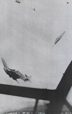 "A Luftwaffe cameraman is thought to have captured the moments after Hurricane Mk I JU-V had clipped the starboard wing of 17Z-2 U5+FL of 3/KG2 at 6,000ft over Convoy Bread at 14.00 on 19 July 1940, losing its port wing. F/O Thomas PK ""Peter"" Higgs of No 111 Squadron RAF had reportedly fired at the bomber when being attacked by Obltn Walter Oesau of 7/JG51 in Me 109E-3 White 1. Both aircraft spun seawards out of control, killing 2 crewmen and the 23-year-old pilot on bailing out."