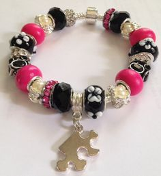 European style bracelet,Glass beads,pink, pearl,black, white, autism,charm bracelet,puzzle piece
