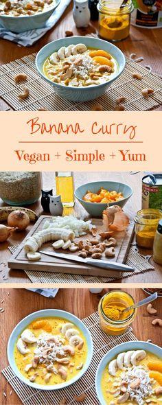 Einfaches veganes Bananen Curry mit Kokosnuss, Mandarinen und Cashewnüssen