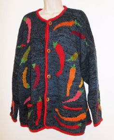 Amano Wool Cardigan Sweater XL 1X 2X Oversized Chili Pepper Art To Wear Blue  #AmanoSweater #ChiliPeppers #WoolSweater  #Cardigan #MexicanFood #SouthwestFlavor
