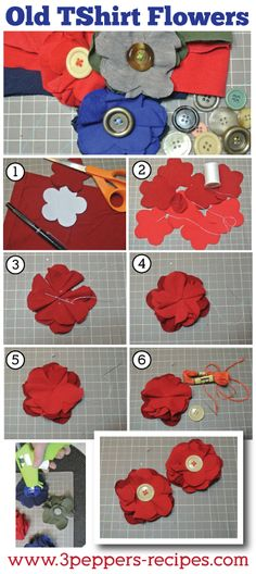 Old TShirt Flower Easy #DIY #Tutorial #oldtshirt