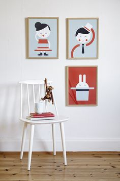 "Art Prints ""Hat Girl"" & ""Hat Boy"" Blog Deco, Kids Decor, Home Decor, Girl With Hat, Kid Spaces, Danish Modern, Installation Art, Decoration, Art Projects"