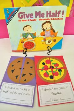 Reading in Content Areas Pin Yummy Fractions! The children read this book on fractions with physical examples of what a fraction is. Then the class will make a cookie or a pizza out of construction paper and create their own fractions. Teaching Fractions, Math Fractions, Teaching Math, Dividing Fractions, Equivalent Fractions, Teaching Spanish, Teaching Tips, Fraction Activities, Math Games