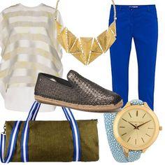 Look con pantalone blu elettrico, scarpa con suola in corda e collana vistosa in contrasto al borsone in cotone verde militare. Contrasti tra lo sportivo e lo chic. Adatto per tutti i giorni, anche per la palestra dopo il lavoro.