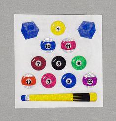 Sandylion+Billiard+Balls+Cue+and+Chalk+Stickers+Rare+Vintage+PM431